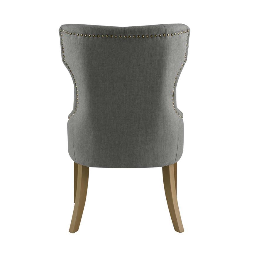 Grey Nailhead Trim Side Chair Back