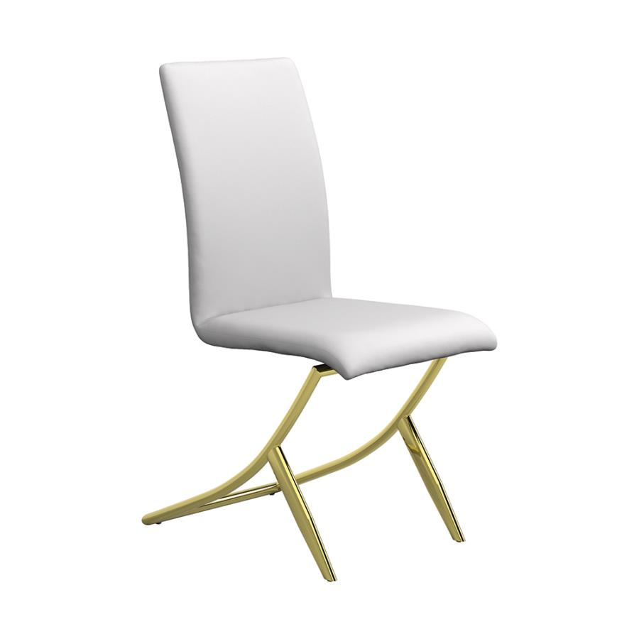 White High-back Dining Chair Angle