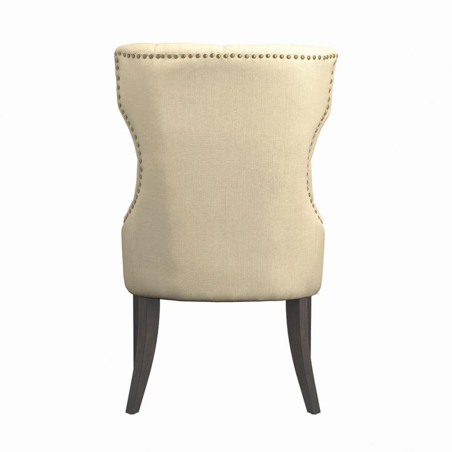Cream Nailhead Trim Side Chair Back