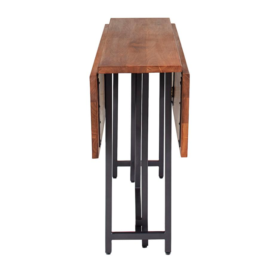 Rectangular Dining Table Two Drop Down Leaves and Folding Base