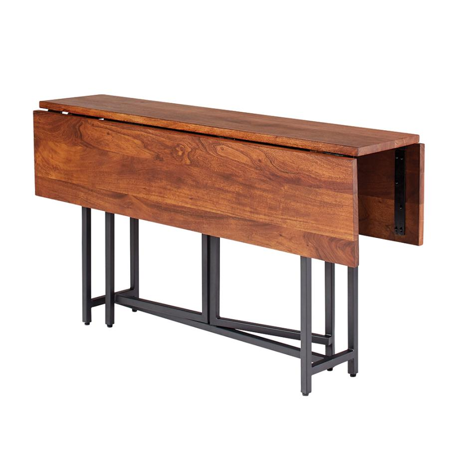 Rectangular Dining Table Two Drop Down Leaves and Folding Base Angle View