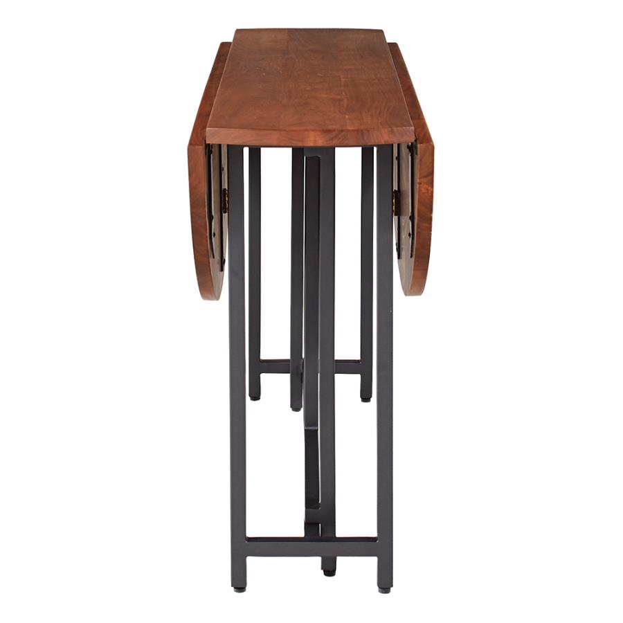 Circular Dining Table Two Drop Down Leaves and Folding Base Angle View