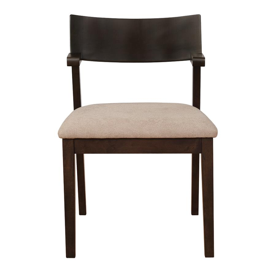 Light Brown Fabric Side Chair Front