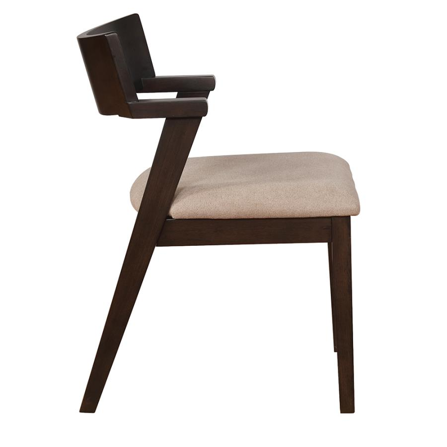 Light Brown Fabric Side Chair Side View