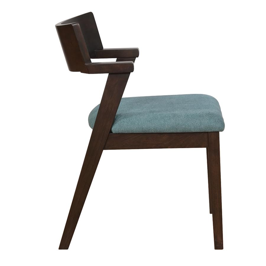 Teal Fabric Side Chair Side View