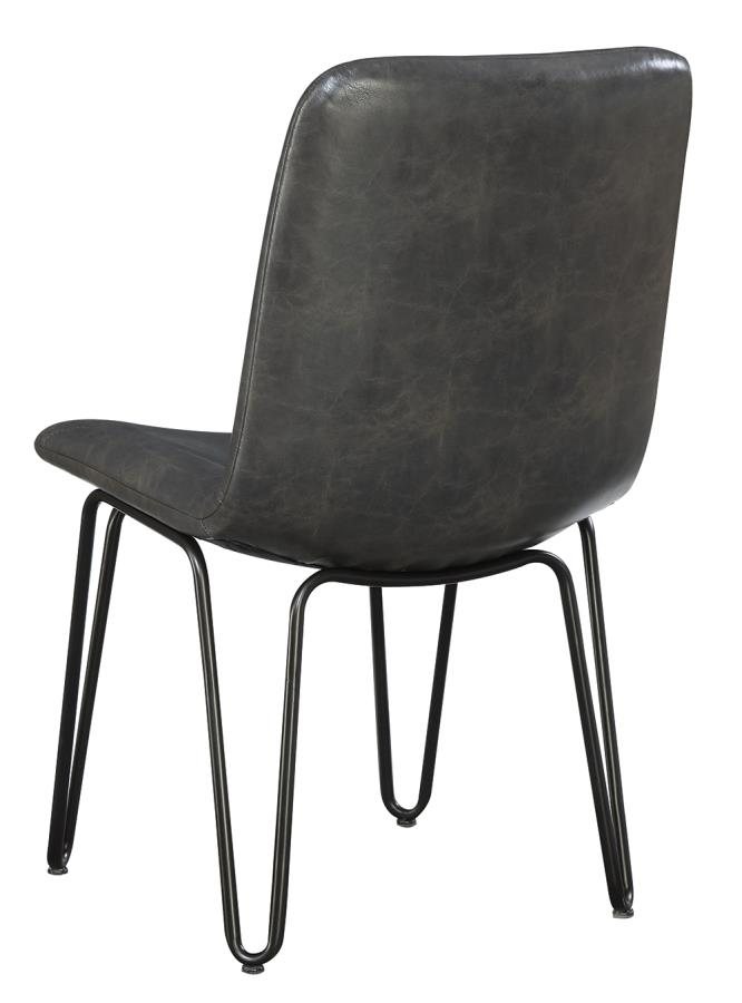Grey Leatherette Side Chair Back