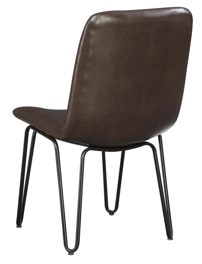 Brown Leatherette Side Chair Back