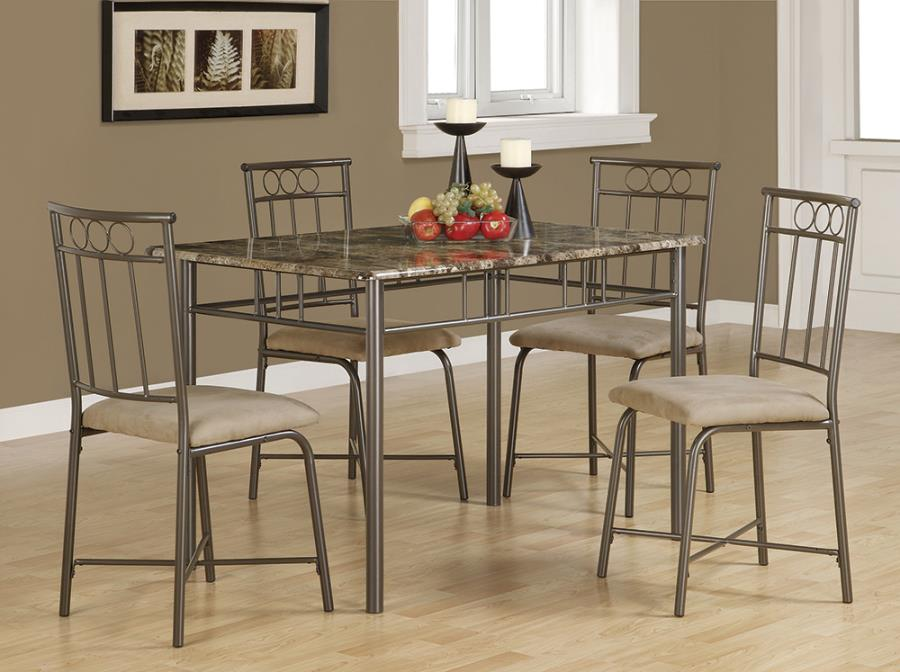 Faux Stone Table Top 5PC Dining Set