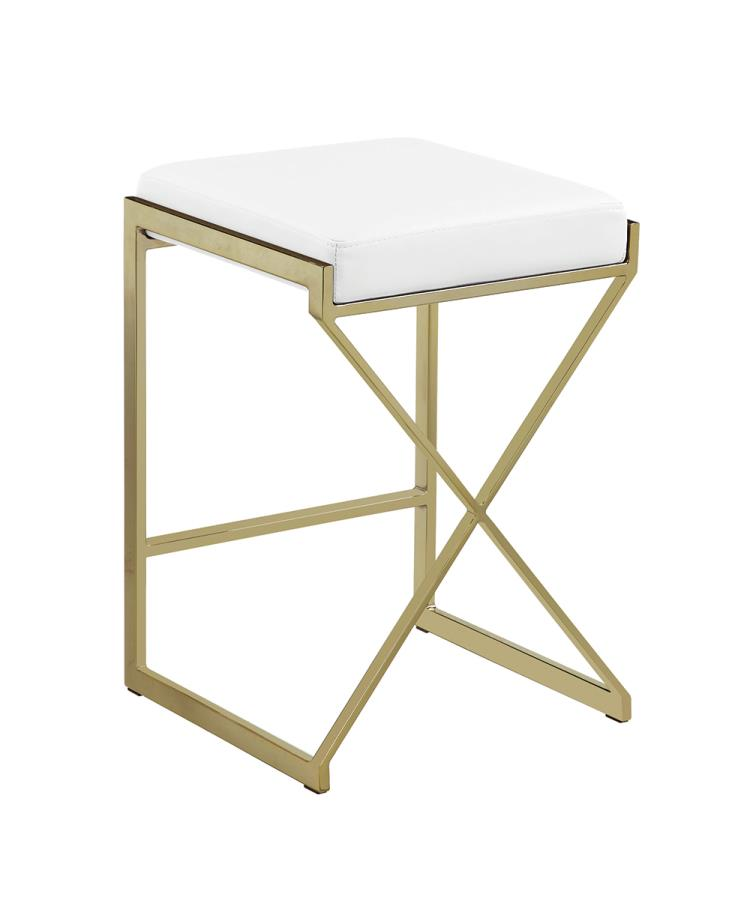 White Counter Height Stool Back Angle
