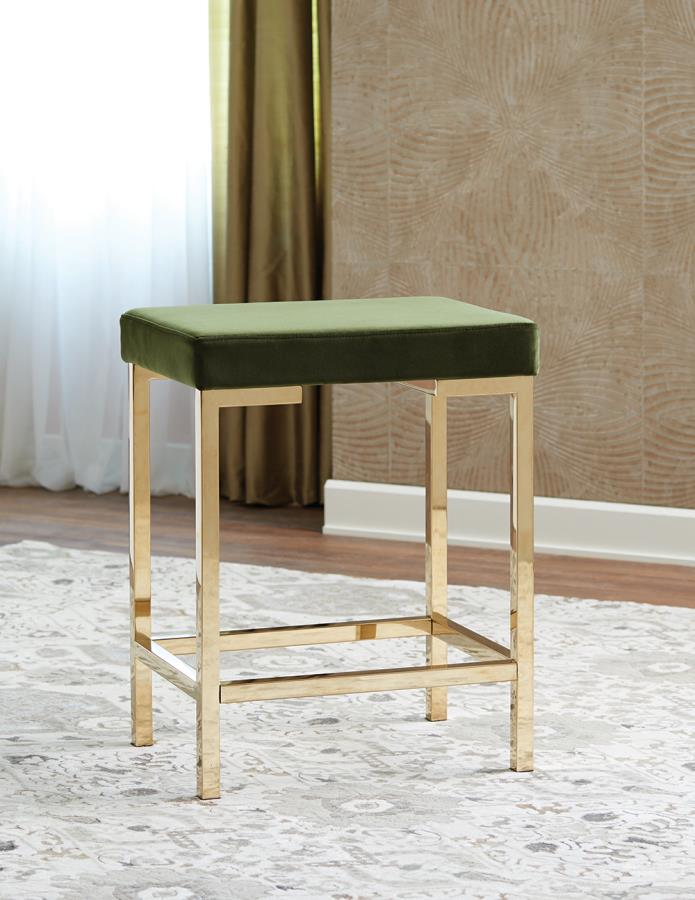 Green Fabric Counter Height Stool