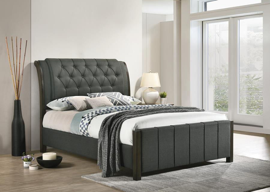 Charcoal Upholstered Bed