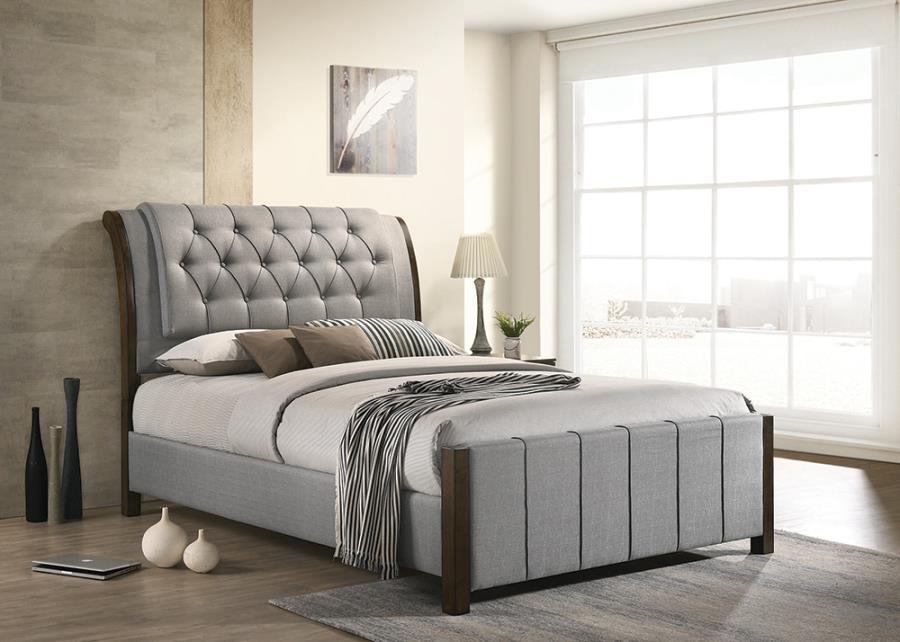 Grey Upholstered Bed