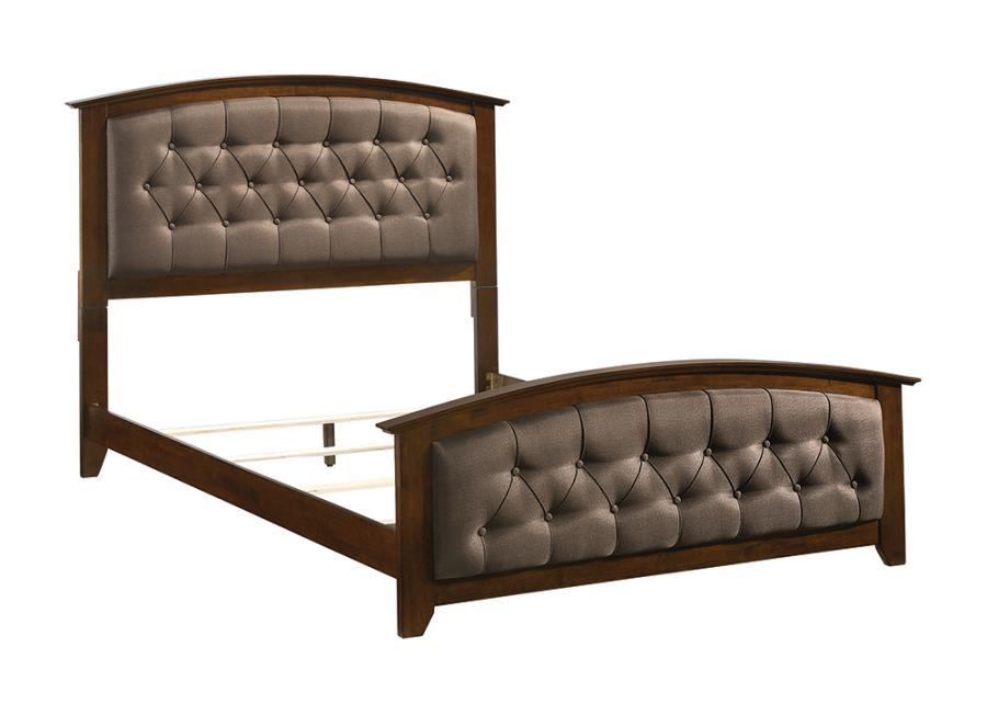 Brown Upholstered Bed Frame Front