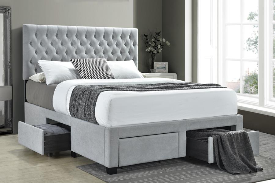 Light Grey Upholstered Bed