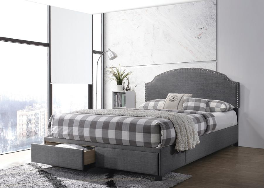 Charcoal Upholstered Storage Bed