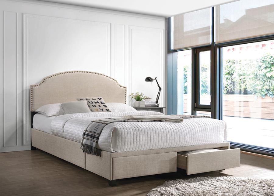 Beige Upholstered Storage Bed