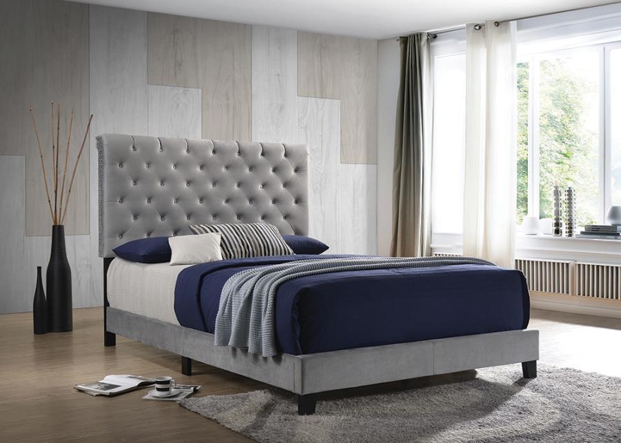 Grey Velvet Upholstered Bed