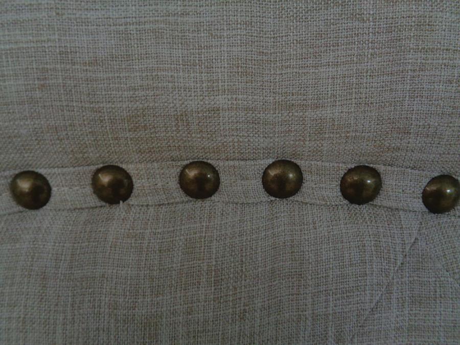 Beige Upholstered Antique Brass Nailhead Trim