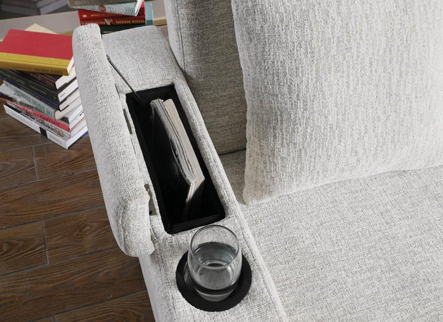 Storage Compartment Under Armrests and Cup Holders