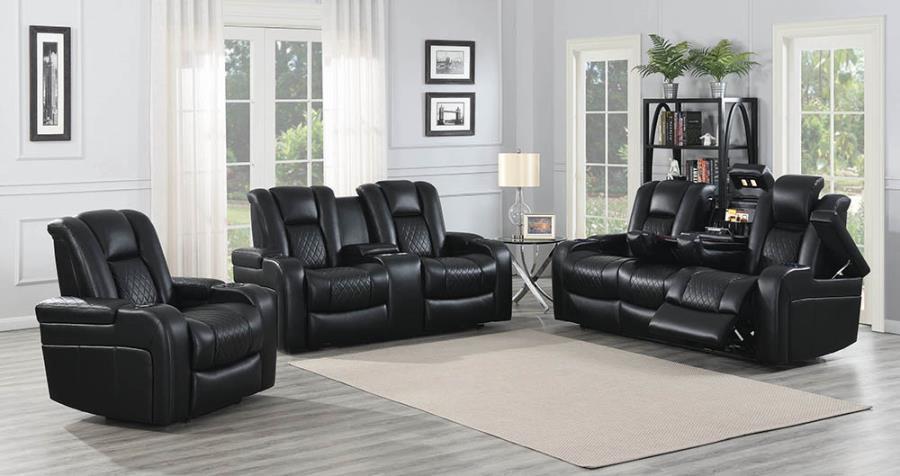 Black Complete Power Motion Reclining Sofa Set