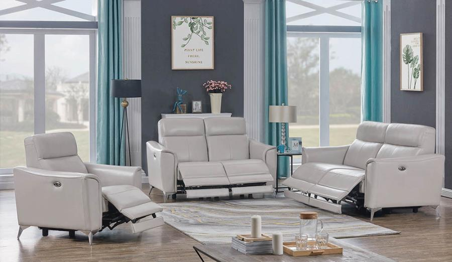 Complete Light Grey Power Motion Sofa Set