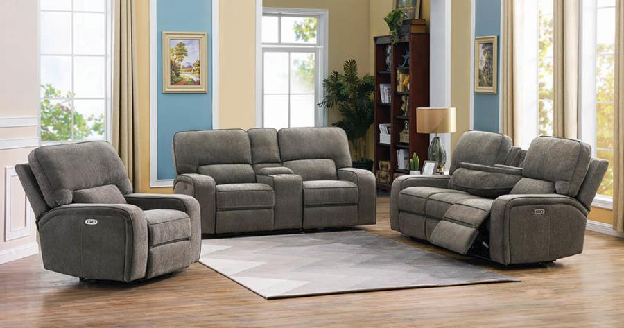 Beige Complete Power Motion Reclining Sofa Set
