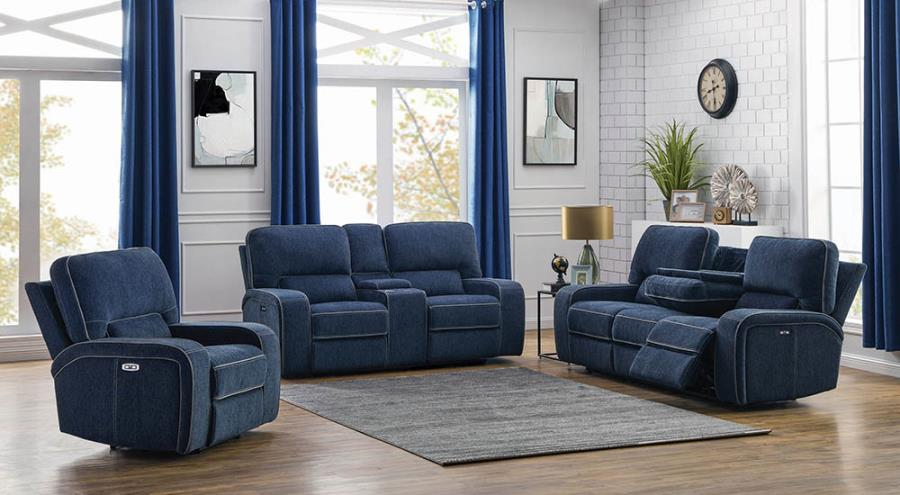 Navy Blue Complete Power Motion Reclining Sofa Set