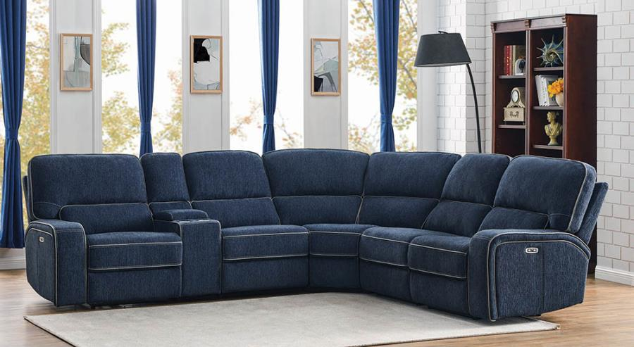Navy Blue Complete 6-piece Sectional Sofa