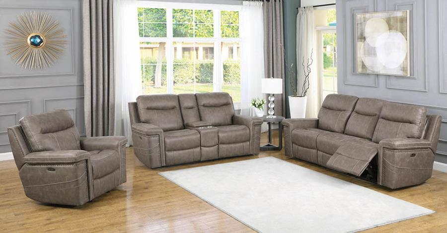 Taupe Complete Power Motion Reclining Sofa Set