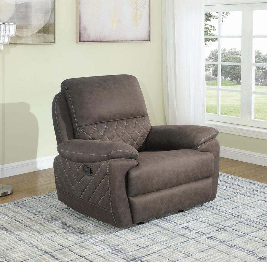 Taupe Glider Recliner not Reclined