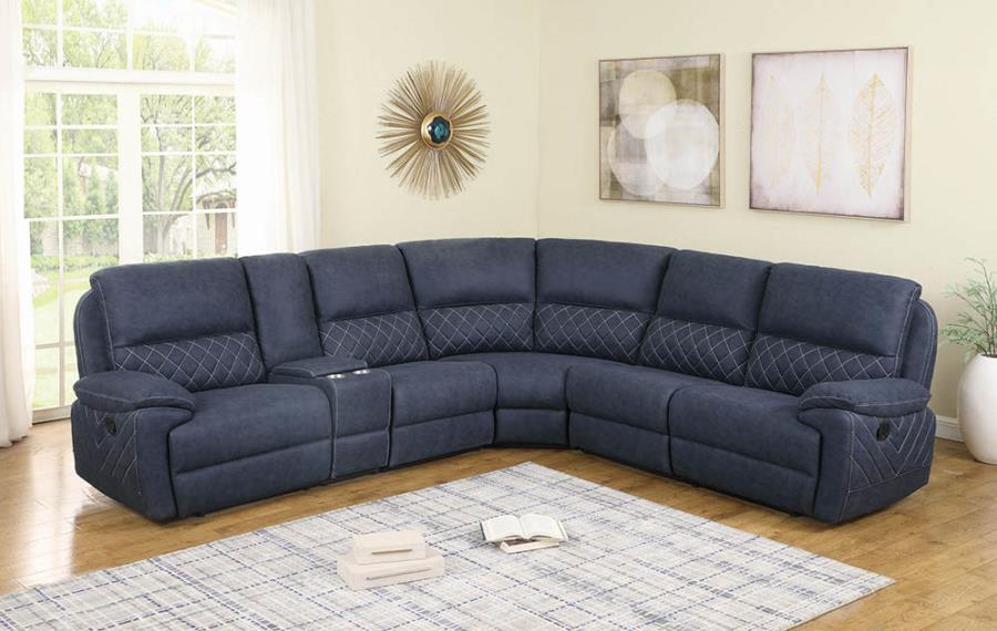 Blue Complete 6-Piece Sectional Sofa