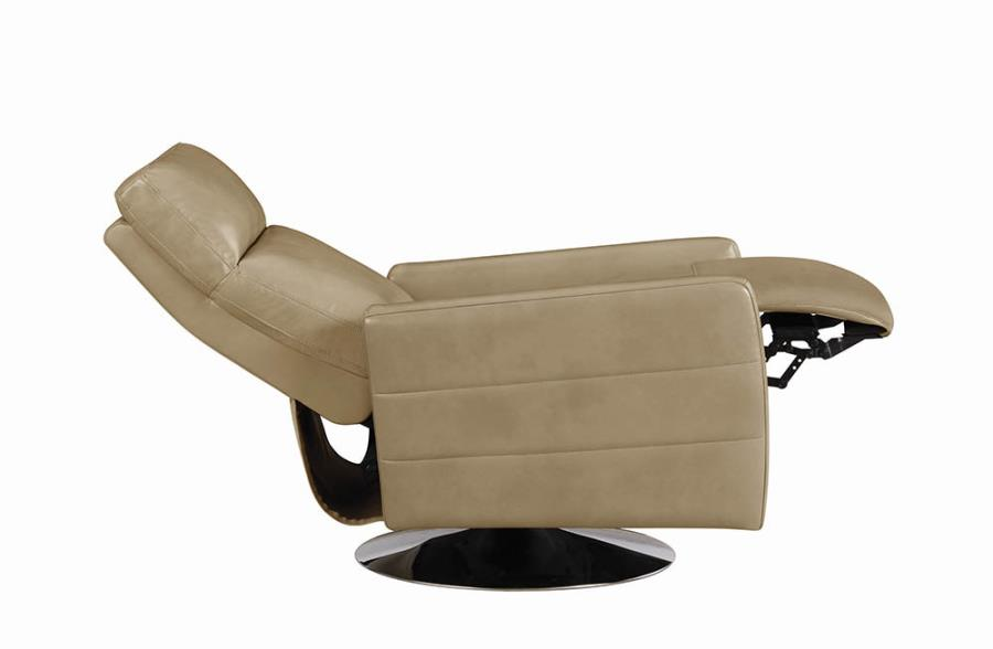 Taupe Swivel Recliner Fully Reclined