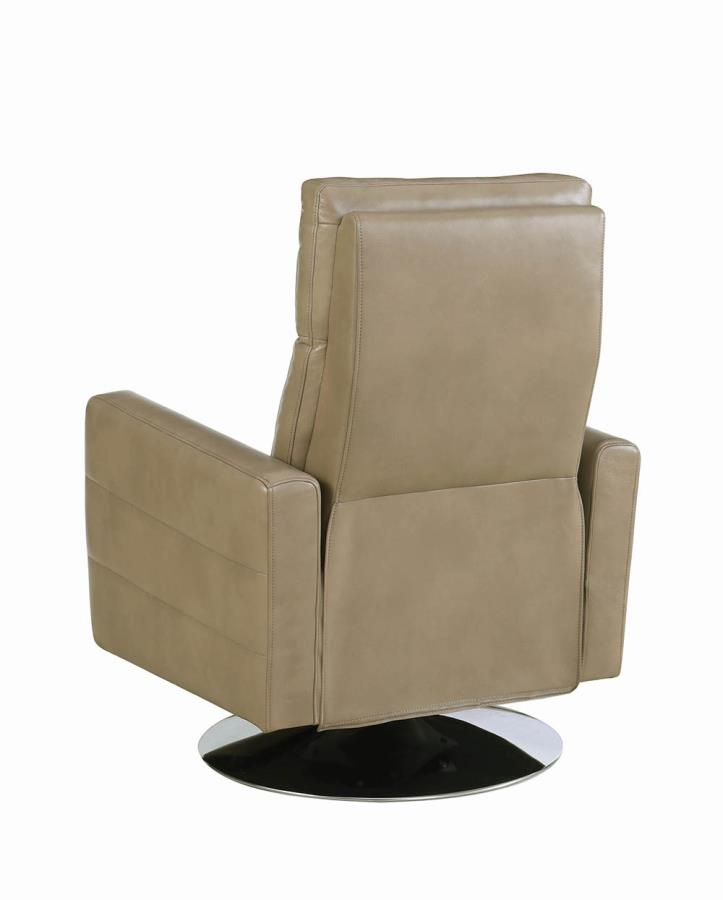 Taupe Swivel Recliner Back