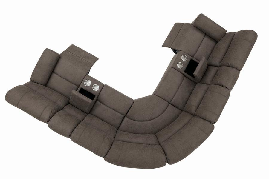 Complete 6-Piece Sectional Sofa Reclined Top View