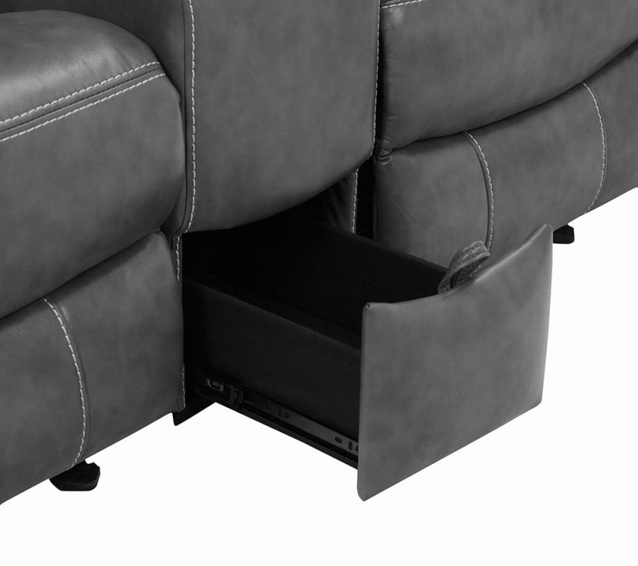 Storage drawer in Middle Loveseat Seat