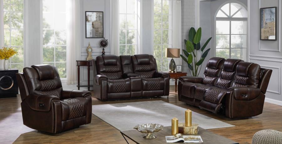 Dark Brown Complete Power Motion Reclining Sofa Set