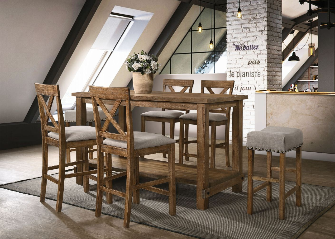 Complete Weathered Oak Counter Height Table Set