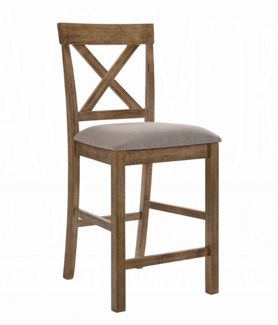 Weathered Oak Counter Height Chair Angle