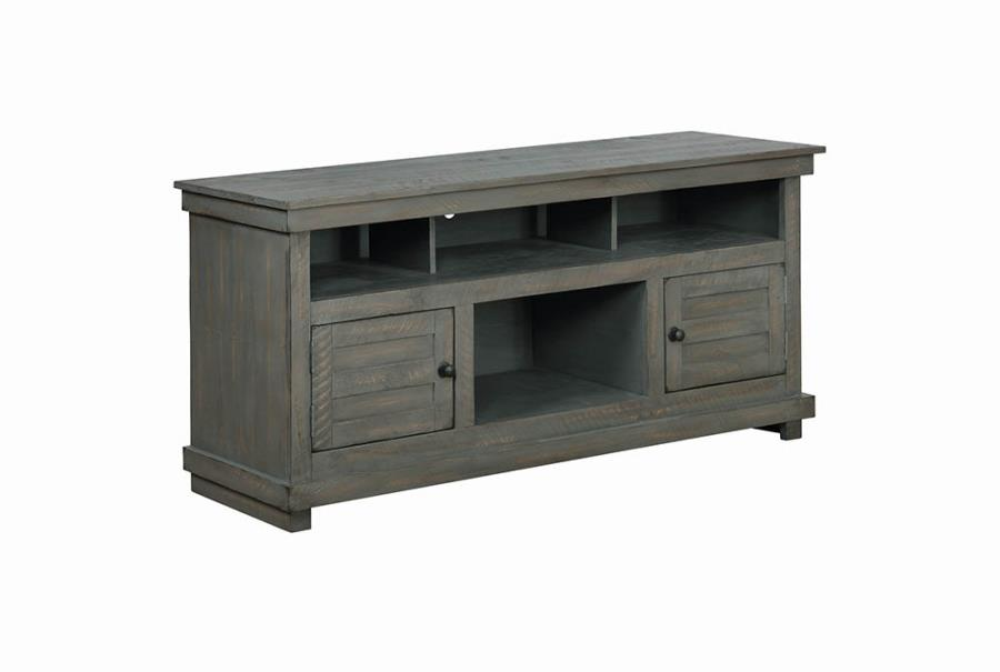 Antique Grey TV Console Angle