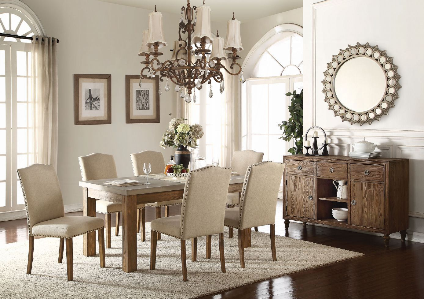 Complete Concrete Table Top Dining Table Set