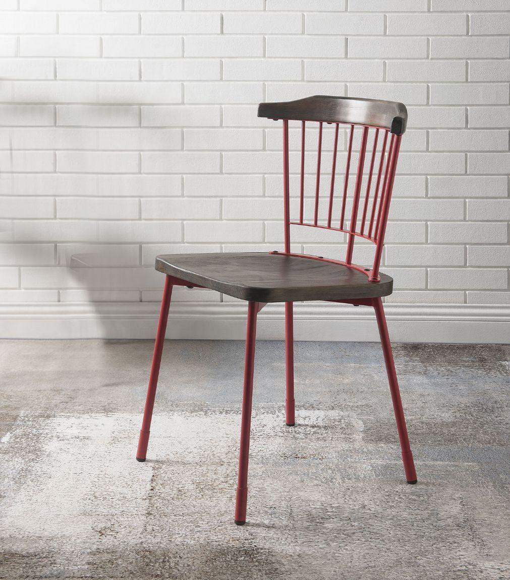 Red & Brown Oak Side Chair