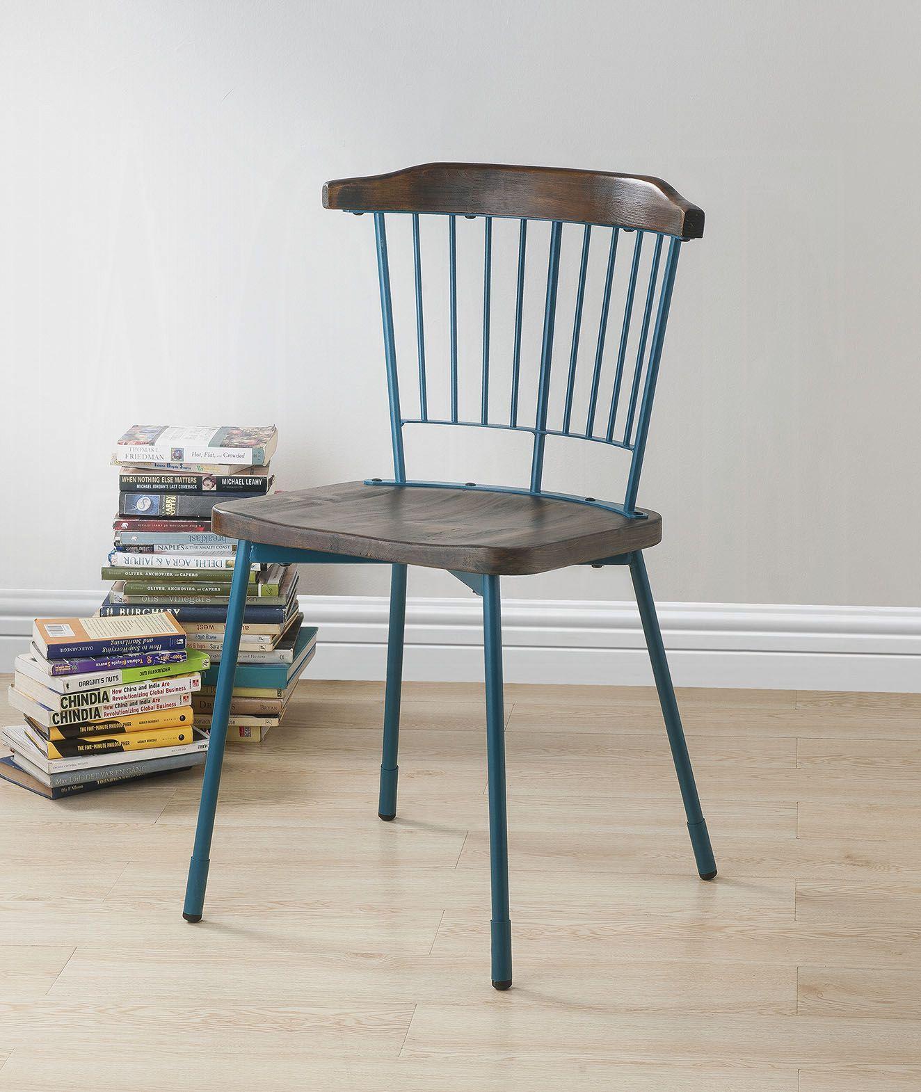 Teal & Brown Oak Side Chair