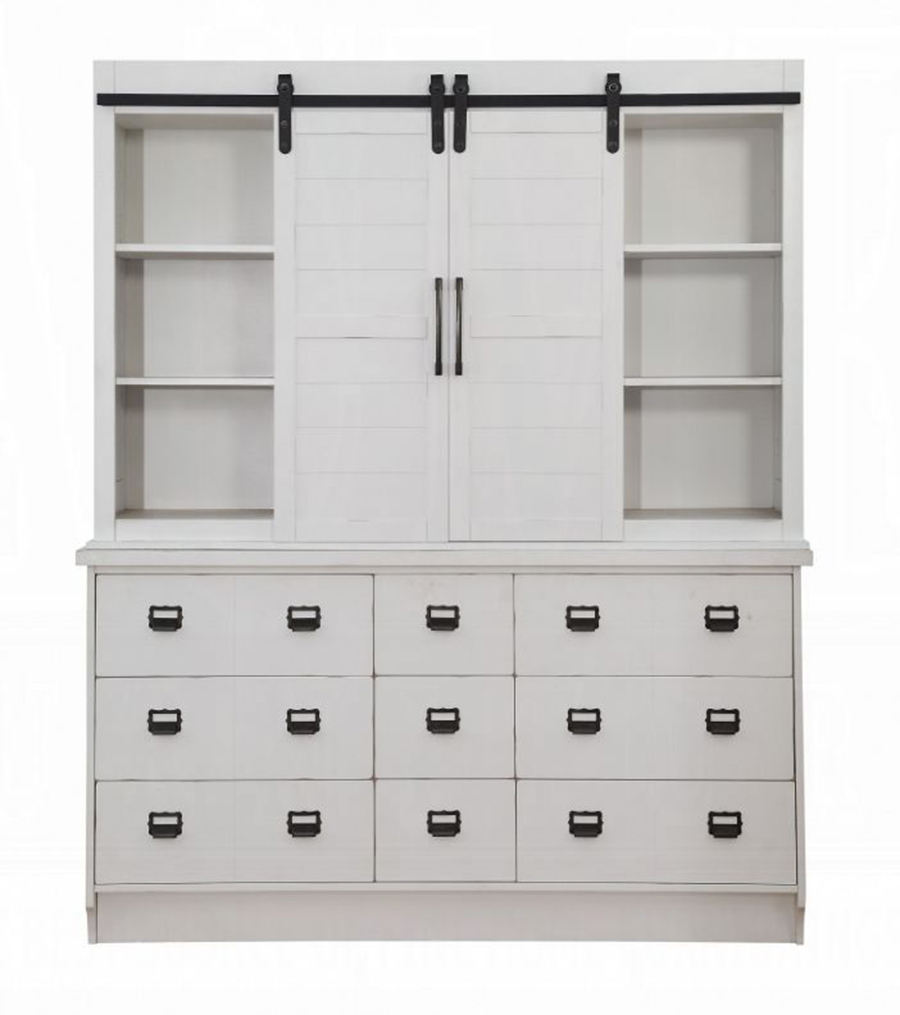 Hutch & Buffet Front w/ Sliding Doors Opened