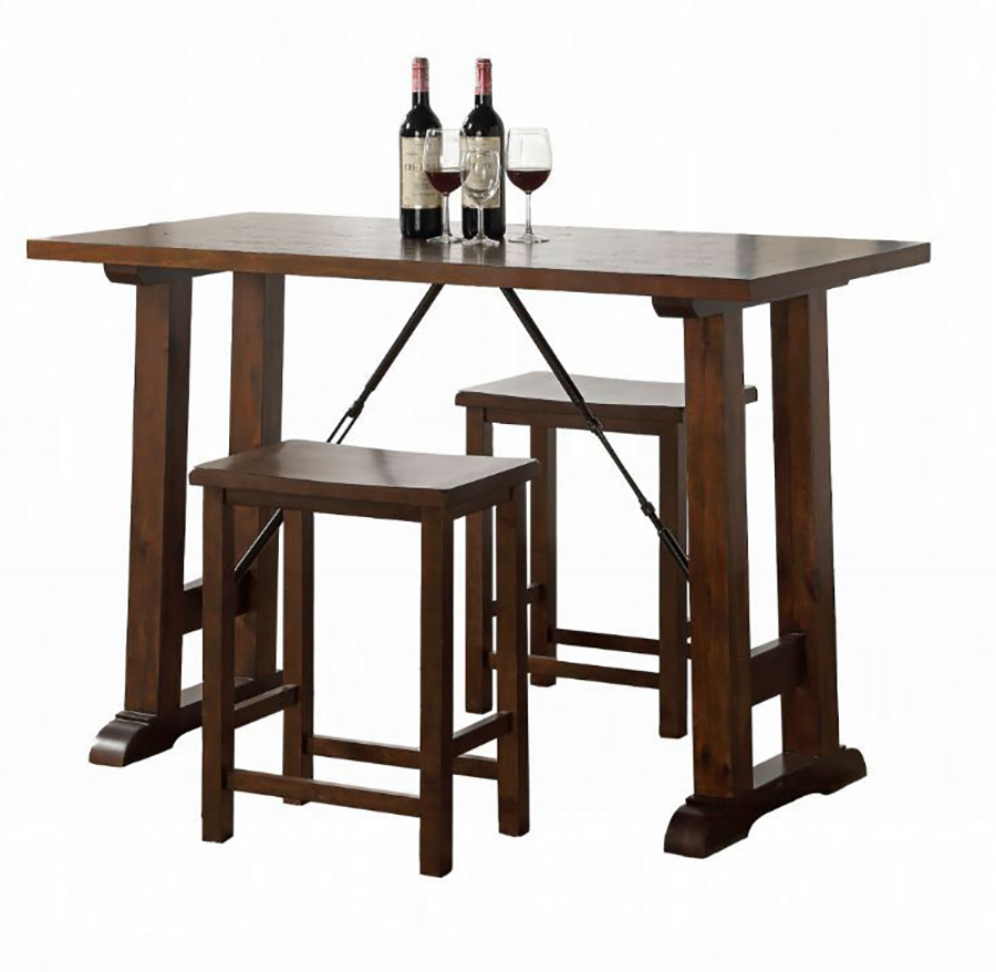 Walnut 3 Piece Counter Height Table Set