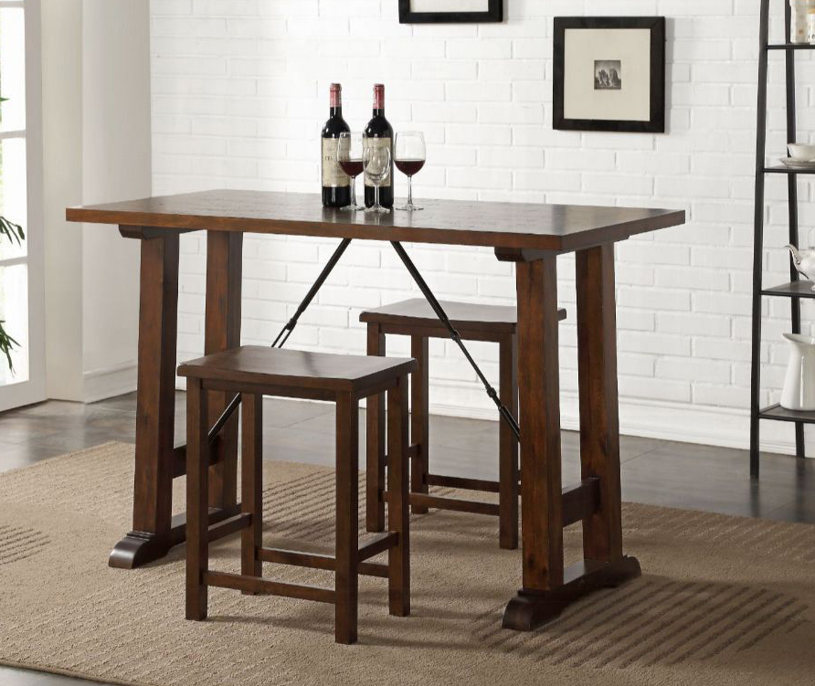 Walnut Complete 3 Piece Counter Height Table Set