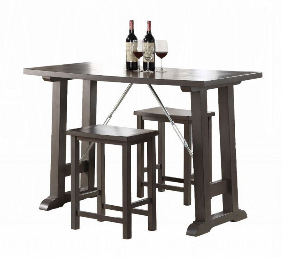 Gray Oak 3 Piece Counter Height Table Set