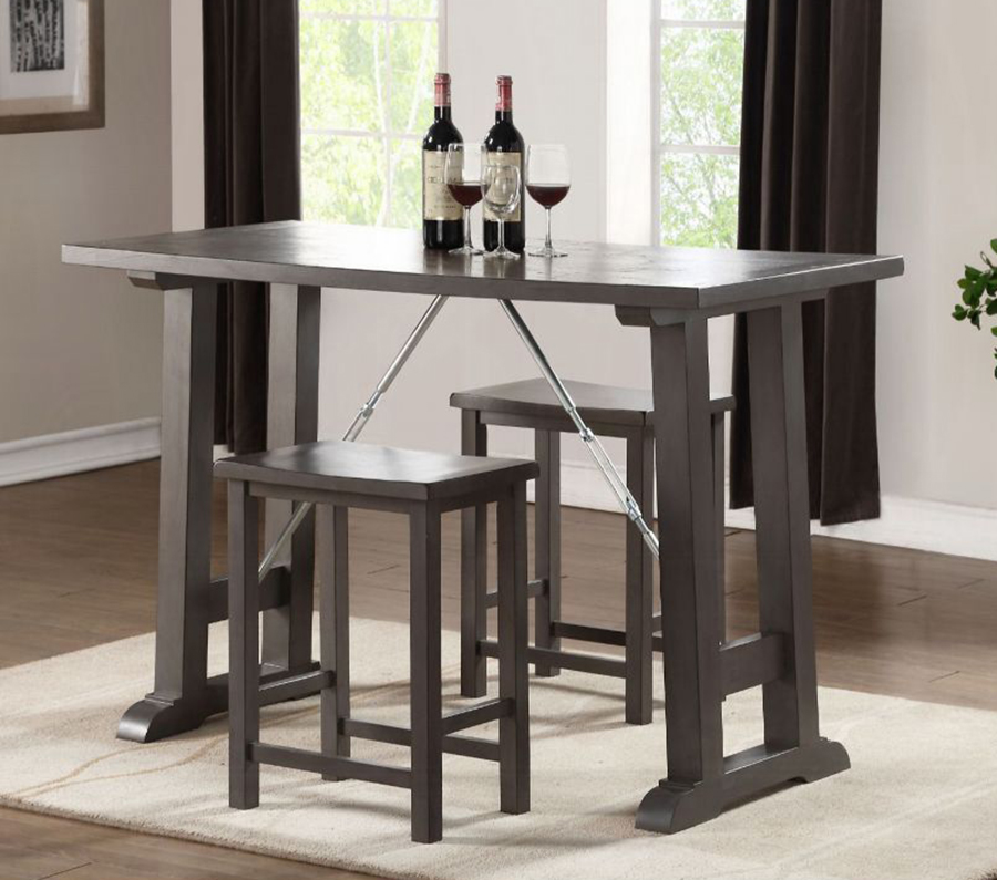 Gray Oak Complete 3 Piece Counter Height Table Set