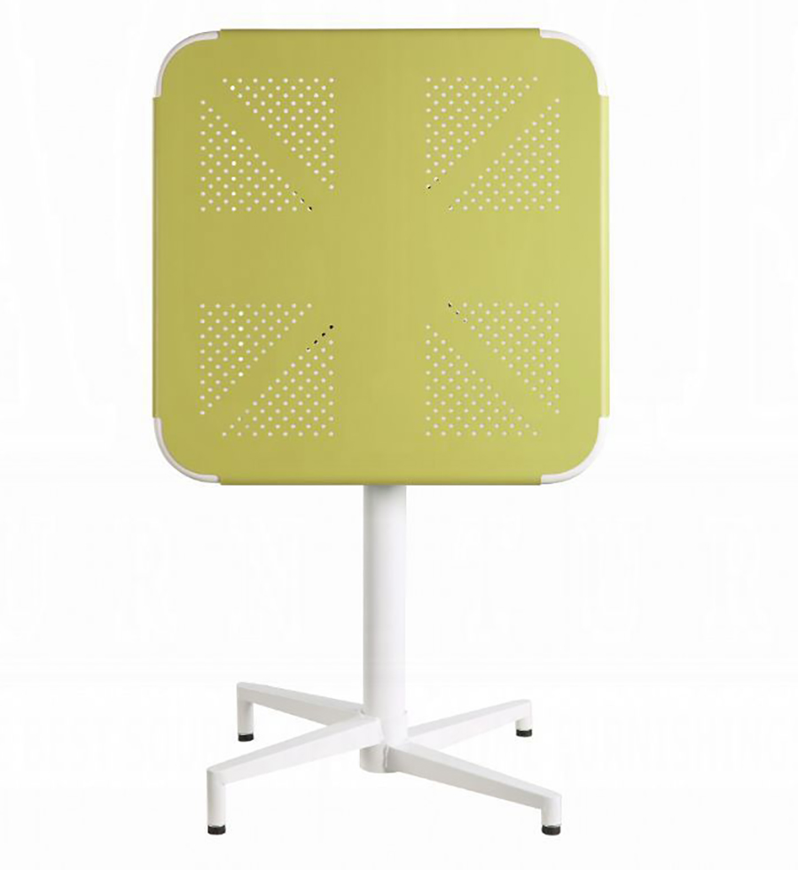 Yellow & White Folding Table w/ Top Folded Front