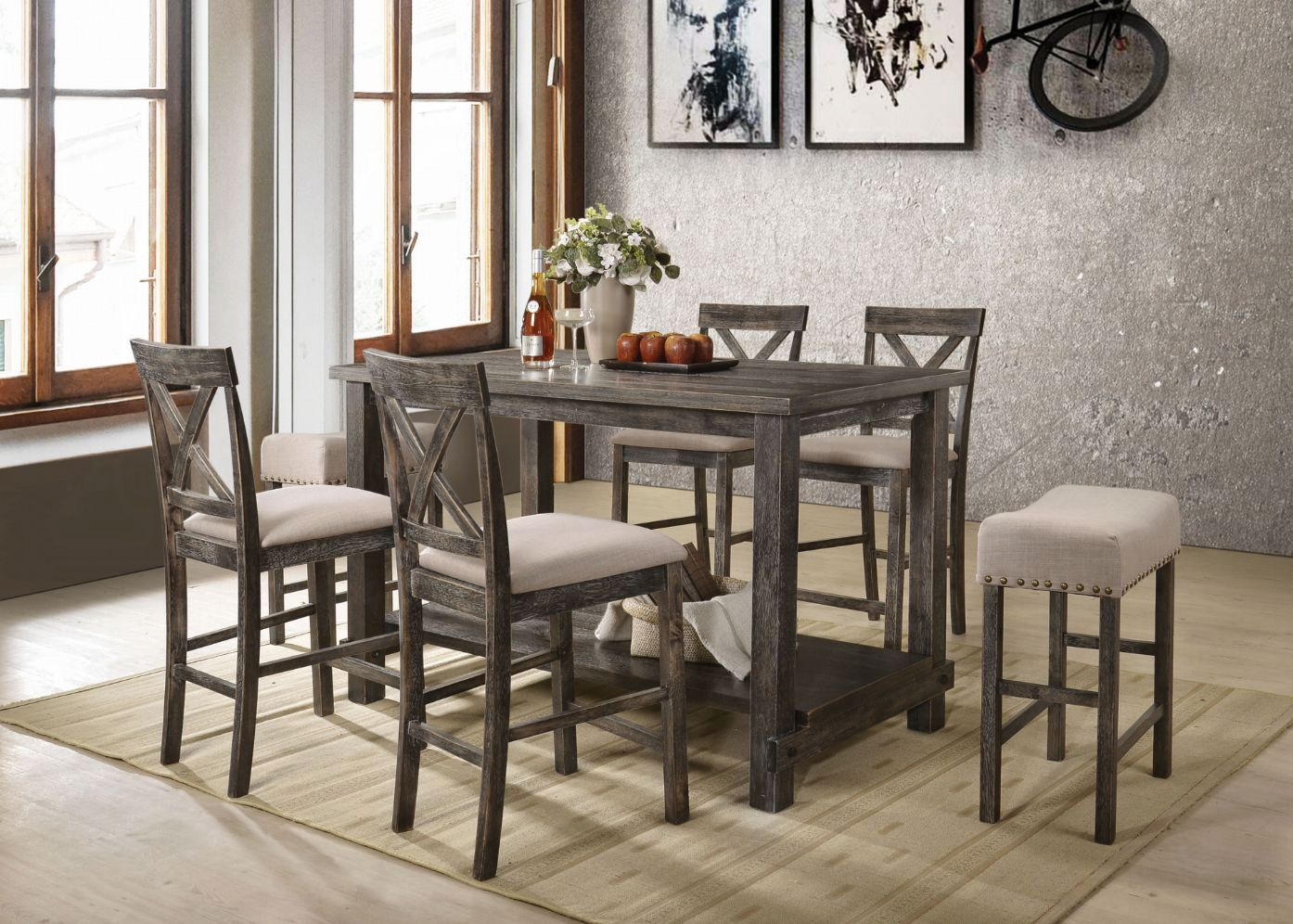 Complete Weathered Gray Counter Height Table Set