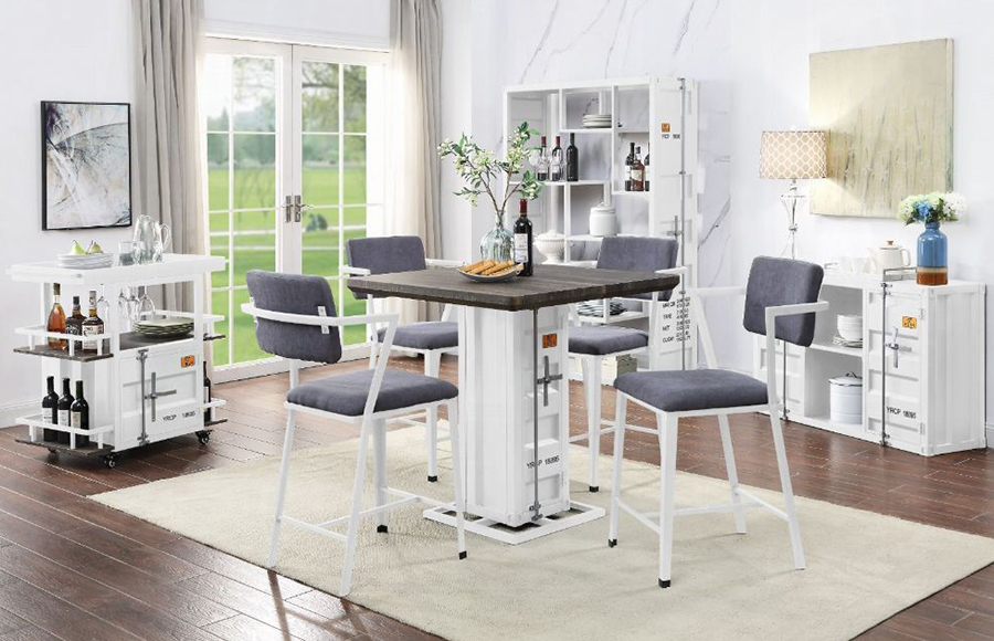 White Complete Counter Height Table Set